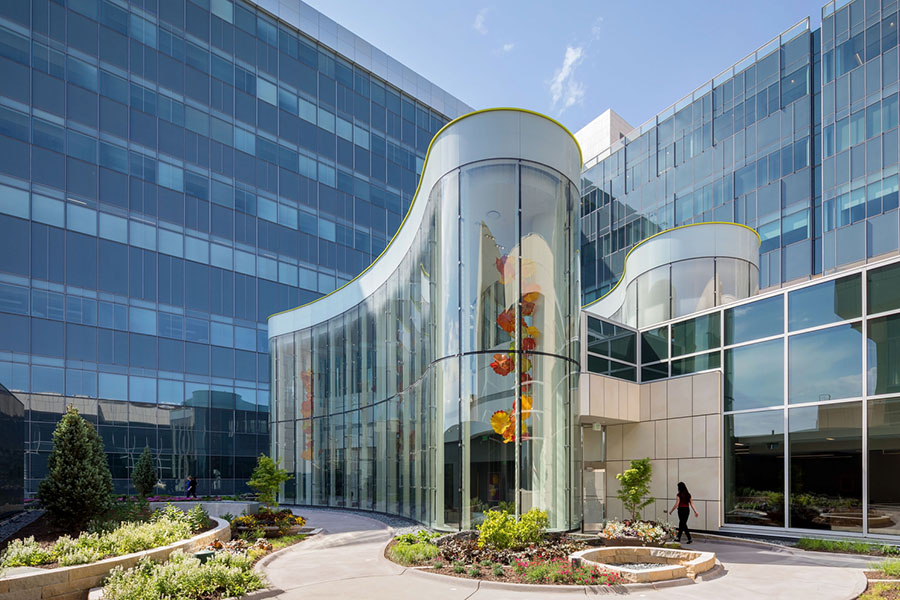 Exterior of the Chihuly Sanctuary and the Buffett Cancer Center