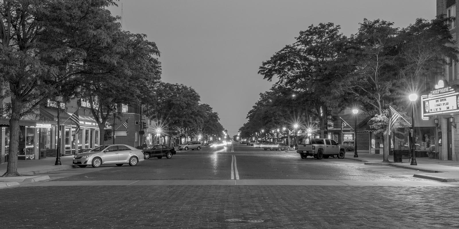Main street in a small Nebraska town
