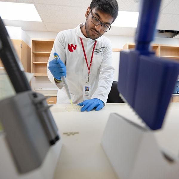Graduate student in a lab