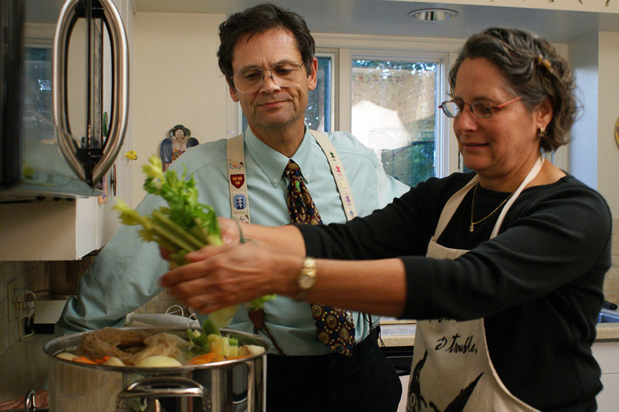 Stephen and Barbara Rennard make chicken soup.