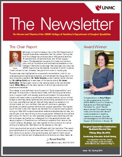 Surgical Specialties Newsletter Archive | College of Dentistry