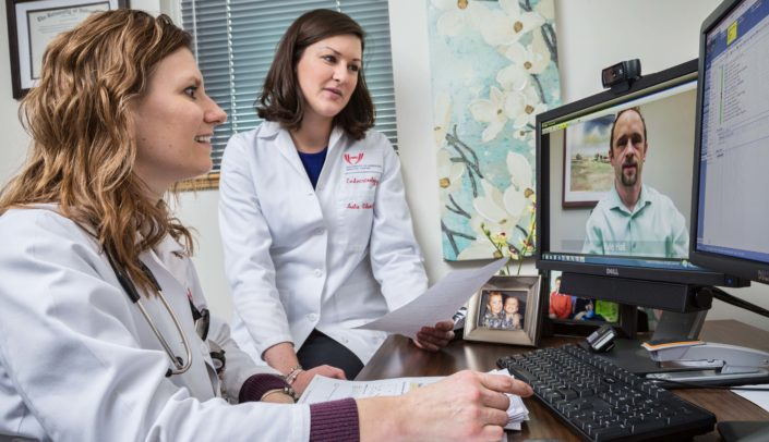 Leslie Eiland, M.D., at left, heads up a telehealth initiative focused on diabetes.