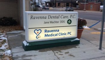UNMC alum Ryan Lieske operates the Ravenna Medical Clinic, next-door to Jane Wachter, DDS, also a UNMC alum, who took over her father's dental practice.