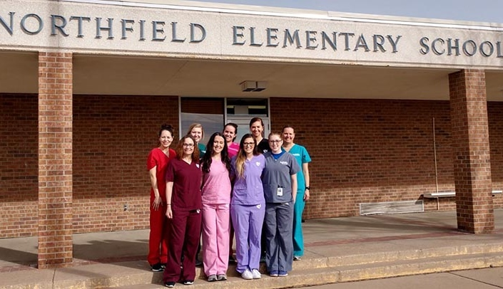 Faculty members and students at the UNMC West Division Dental Hygiene program visit Northfield Elementary School in Gering to provide dental education and instruction to about 300 children.