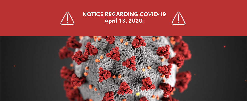 April 13th CoVID banner
